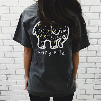 Cool Black Cute Elephant T-Shirts with Pocket for Women