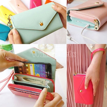 Multifunction Women Wallet Coin Case Purse For iphone/Galaxy iphone 4/5 = 1645432836