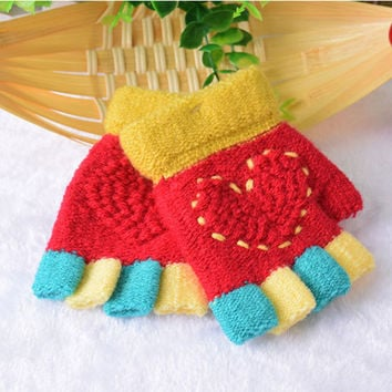 Spring Autumn Girls Woolen Warmers Winter Fashion Fingerless Gloves Kids Child Colorful Knitted Heart Half Finger Glove Guantes