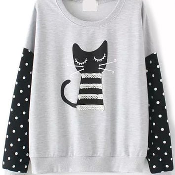 Grey Cat Print Polka Dot Contrast Lace Long Sleeve Sweatshirt