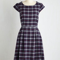 Eco-Friendly Long Short Sleeves A-line Scholastic Fanatic Dress by Mata Traders from ModCloth