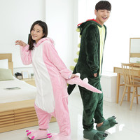 Free shipping Pyjamas women Pink/Green Dinosaur Onesuits for adults pajamas Sleepwear Robe Flannel Animal pajamas one piece