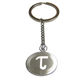 Silver Toned Etched Oval Greek Letter Tau Pendant Keychain