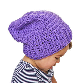 Purple Crochet Slouch Baby Beanie Any Size 0-8 Years Fitted or Slouchy style