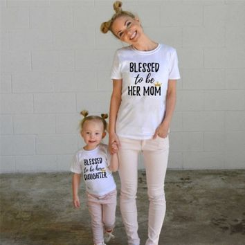 Casual T-shirt Tops Mother and Daughter Clothes Family Matching Outfits Blessed to Her Mon Daughter Clothing
