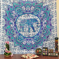 Jaipurhandloom Christmas Gift Hippie Elephant Tapestries Wall Hanging Indian Mandala Tapestry Bedspread Dorm Tapestry Decorative Wall Hanging Tapestries for Dorms