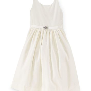 Sleeveless Velvet A-Line Dress, Warm White, Size 2-6X,