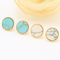 2016 Elegant New Fashion Jewelry White Turquoise Round Stud Earring Gift for Women Party Earrings Geometric Jewelry