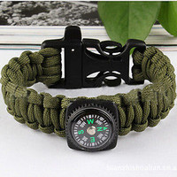 Paracord Survival Bracelet Compass Whistle Camping Gear
