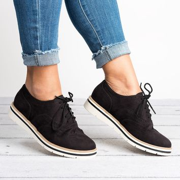 Lace Up Perforated Oxfords - Black