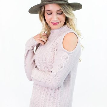Wren Cold Shoulder Cable Knit Sweater