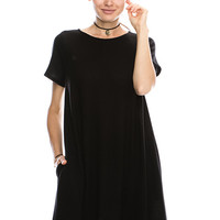 Solid Short Sleeve Flowy Swing Dress With Pocket Detail