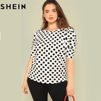 SHEIN Black And White Polka Dot Puff Sleeve Round Neck Plus Size Tops Summer Casual Office Lady Half Sleeve Elegant Blouses