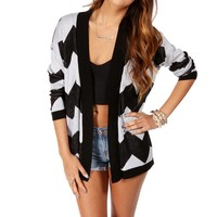 Black/White Chevron Print Cardigan