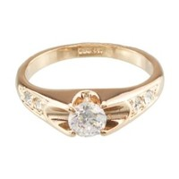 FM42 5-Stone Round Cut Clear Crystal Engagement Style Ring R54