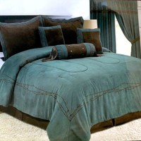 Rustic Turquoise Western Barbwire Comforter - 7 Piece Set