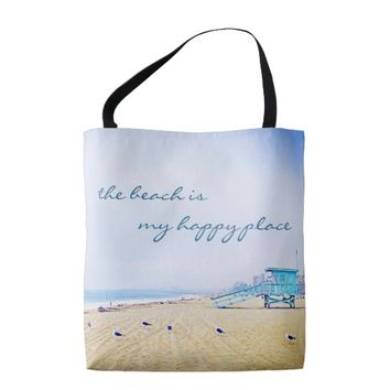 """Happy place"" quote aqua beach photo tote bag"
