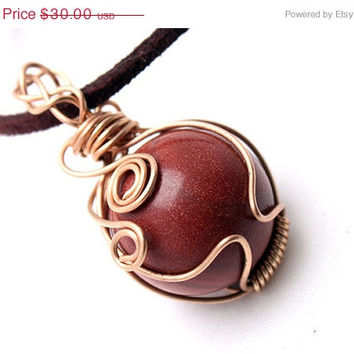 ON SALE, 50% OFF Wire Wrapped Goldstone Sphere Pendant, Necklace, Intricate, Braided Design