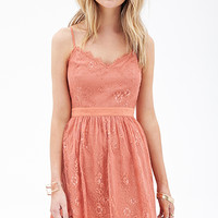 FOREVER 21 Eyelash Lace Dress Coral