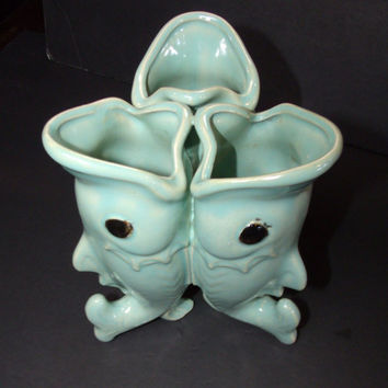 Vintage Majolica Vase Sea Green Art Pottery 3 Koi Fish Vase
