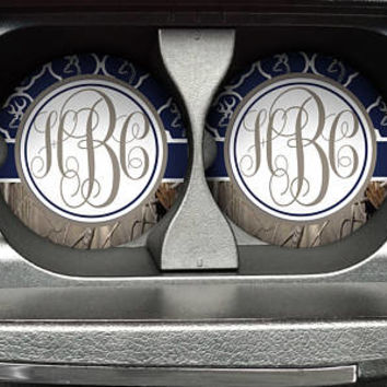 Personalized Monogrammed Car Coasters Navy Blue Quatrefoil Buck Deer Head Camo , Cup Holder Coaster, Custom Gift, Sandstone Coaster