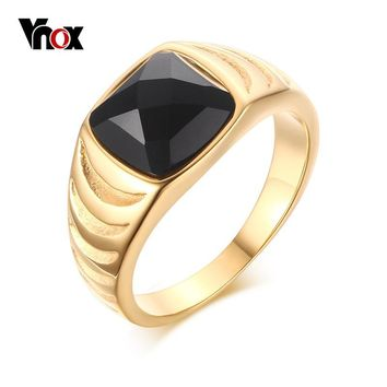Vnox Mens Vintage Rings Stainless Steel Gold-color Black Stone Rings for Men Jewelry