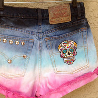 Levi High Waisted Studded Skull Dia De Los Muertos Pink Dip Dyed Size 27 Flower //SUZNEWS ETSY STORE//