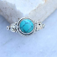 turquoise ring, silver ring,  stone ring, silver turquoise ring, 92.5 sterling silver, Turquoise Silver Ring,  Christmas ring, RNSLTR8