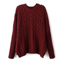 ZLYC Women Girls Classic Cable Knit Batwing Sleeves Pullover Sweater Jumper, Wine Red, One Size
