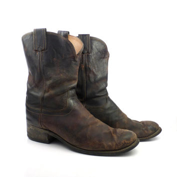Olathe Cowboy Boots Vintage 1980s Brown Leather Roper Men's size 14