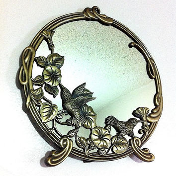 Vintage Mirror Humming Bird Decor Flower Mirror Wall Round Mirror Bird Bird Metal Metal Flowers Vanity Mirror Wall Mirror Desk Mirror Table