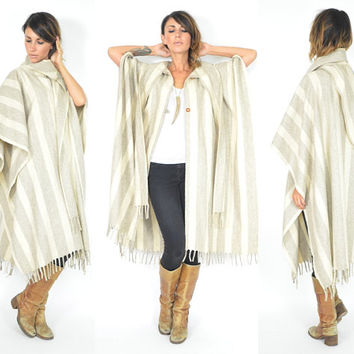 bohemian CASUAL mexican ethnic striped EARTHY cape poncho FRINGED cloak, one size fits all