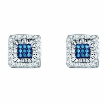 10kt White Gold Women's Round Blue Color Enhanced Diamond Square Stud Earrings 1-2 Cttw - FREE Shipping (US/CAN)