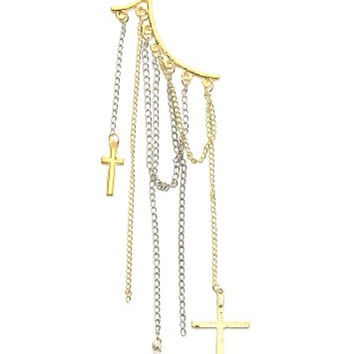 Crosses Ear Cuff Metal Wrap Gold Silver Tone CC11 Gothic Chains Punk Clip on Earring Fashion Jewelry