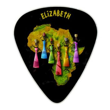 African Women In Colorful Dresses On Africa Map Pearl Celluloid Guitar Pick