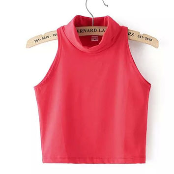 Vintage Crop Top Sleeveless Vest Slim T-shirts [6032354881]