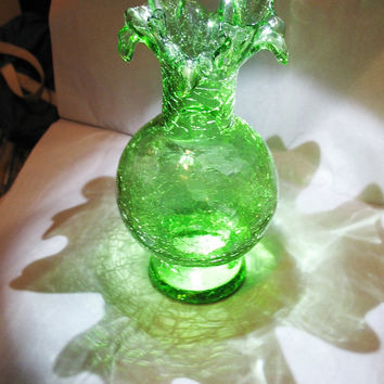 Green Crackle Hand Blown Glass Vase Blenko Pontil.