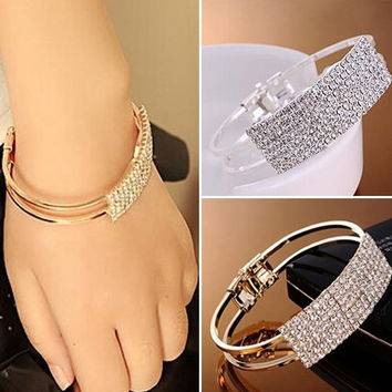 Fashion Womens Jewelry Elegant Wristband Bangle Crystal Rhinestone Cuff Bracelet Bling Hand Chain = 1958260740