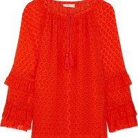 Tory Burch - Madison fil coupé silk-blend blouse