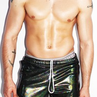 Oil Slick Running Shorts- Black