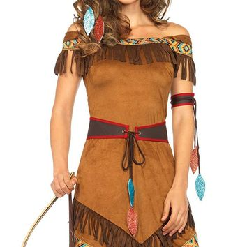 Turquoise Temptress Brown Short Sleeve Off The Shoulder Fringe Native American Midi Dress Costume