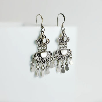 Sterling Chandelier Earrings - Mother of Pearl Dangle Earrings - Cascading Sterling Earrings - Vintage MOP Chandelier Earrings