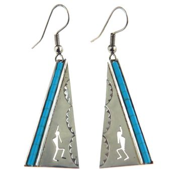 Turquoise Sterling Silver Southwestern Drop Earrings, Vintage, 1930s to 1980s