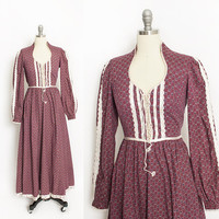 Vintage GUNNE SAX Dress - 1970s Maroon Floral Printed Cotton Crochet Lace Maxi Boho Gown 70s - Small 9