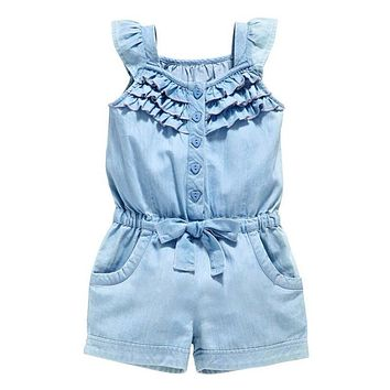 0-5 Years Toddlers Girls One-Piece Rompers Shorts Washed Jeans Jumpsuit Playsuit
