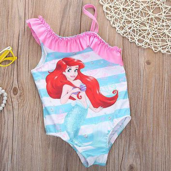 VONC1Y girls one piece swimwear bikini meisje children's swimwear girls bathing suits baby swimming suit toddler little mermaid ballet