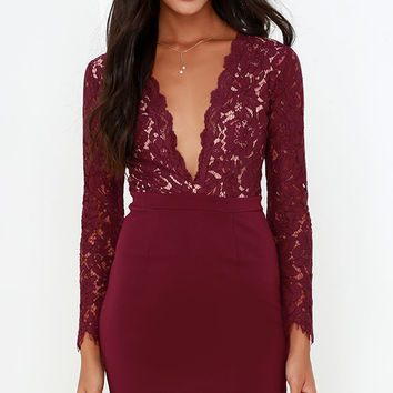 Swoon-er or Later Burgundy Long Sleeve Lace Dress