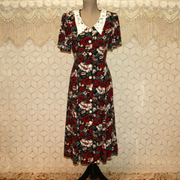 90s Grunge Floral Dress Rayon Medium Large Button Up Lace Collar Short Sleeve Tea Dress Clip Waist Cinch Vintage Clothing Womens Clothing