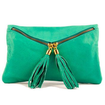 leather clutch turquoise the Envelope by TRACCEleather on Etsy
