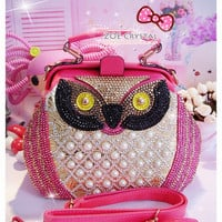 Stylish and Special Owl bag with Crystals and Pearls
